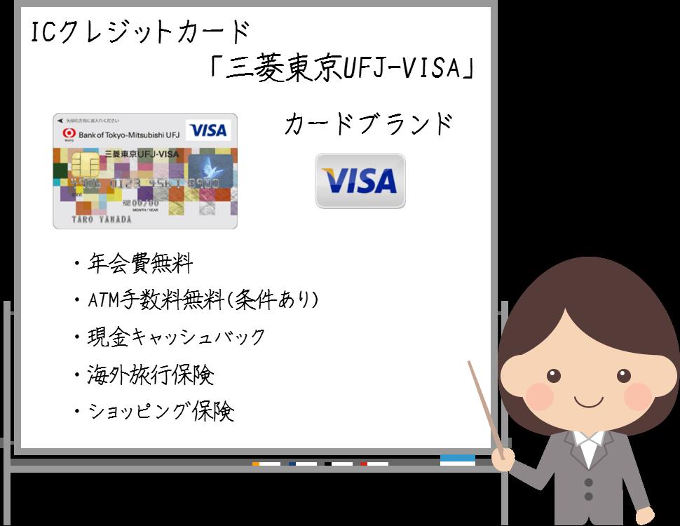 三菱東京UFJ-VISAは現金キャッシュバックとATM手数料無料が魅力!
